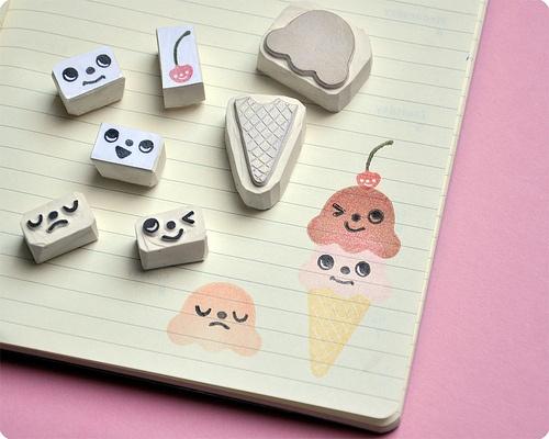 sellos scrapbooking caras helado